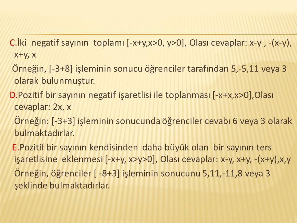 C.İki negatif sayının toplamı [-x+y,x>0, y>0], Olası cevaplar: x-y , -(x-y), x+y, x Örneğin, [-3+8] işleminin sonucu öğrenciler tarafından 5,-5,11 veya 3 olarak bulunmuştur.